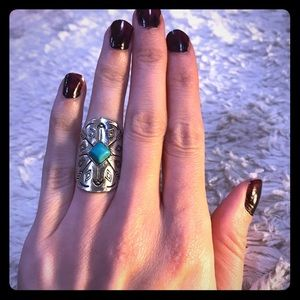 2/$20 Sterling Silver Boho Ring w/ Turquoise